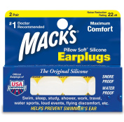 Mack's White Pillow Soft Silicone Putty Swimming Ear Plugs - 2 Pairs