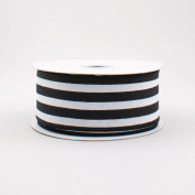 Vertical Stripe Wired Edge Ribbon (3.8cm , Black White) - 10 Yards : RX9135X6