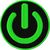 Power Symbol Iron On Patch Applique - Green, Black - 6.4cm Circle