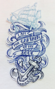 """Custom and Unique (18cm x 9.4cm Inch) """"Quotes"""" Cool Nautical Sailing I Am The Captain Of My Soul Quote & Ship Iron On Embroidered Applique Patch {Blue, White, & Teal Colours}"""