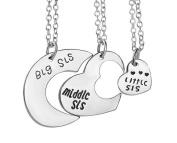 3PCS Little Sis Medium Sis Big Sis Love Heart Shaped Necklace-Best Friend Split Heart Necklaces Jewellery Best Gift for Sister
