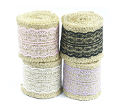 ALL in ONE Natural Jute Burlap Rolls Ribbon with Lace for DIY Craft Wedding Decoration