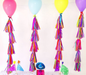 balloon tassels, tissue paper tassels, balloon tail, balloon garland, Mexican fiesta party, Mexican wedding decorations, multicoloured party