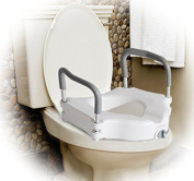 Homcom Raised Elevated Toilet Seat With Lock And Padded Arms Removable White Lid