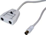 Game Tv 2 Way Signal Switch Coax Aerial Splitter Sega Nintendo Console 1m Cable