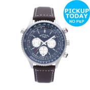 Rotary Mens' Stainless Steel Chronograph Leather Strap Watch -from Argos On