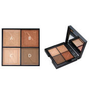 4 Colours Eyeshadow Palette - Most Famous Shiny & Smoky Natrual Make up Eye shadow - Eyebrow Mineral Powder kit