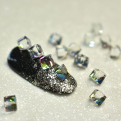 25pcs=1 lot 4mm 3D Square Glass Nail Art Crystal Rhinestones Clear Rainbow Non-hotfix DIY Nail Design Stones Decoration