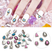 QIMYAR Mix 100pcs/lot Japanese Type Nail Art Tips Retro Metal Alloy 3D DIY Charms Stone Decorations Silver