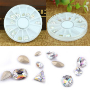 LinkinStar Nail Decals Nail Art Decoration Acrylic Rhinestone Slice Sticker Manicure Wheel, Mixed Design