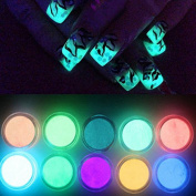 10 Colours Fluorescent Nail Powder, Glow in Dark Nail Decorations, Luminescent Polish Nail Art
