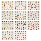 ALLYDREW Furry Animals Nail Stickers 3D Nail Art (330+ Nail Stickers/11 sheets) - Cats, Rabbits & Pandas Nail Stickers