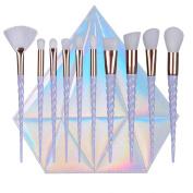 QITAO® 10pcs Fashion Unicorn Design Handle Shape Make Up Brushes For Foundation Eyebrow Eyeliner Blush Cosmetic Concealer Makeup Brushes Set With Diamond Bag