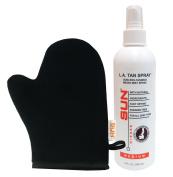 L.A Tan (Medium) Sunless Tanning Spray Micro Mist 240ml with Non-Aerosol Spray Pump + Tanning Mitt