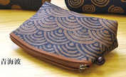 "Yamako ""Aisibu-zome"" Pouch with Japanese 青海波(blue sea wave) Pattern 88811 Made in Japan"
