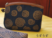 "Yamako ""Aisibu-zome"" Pouch with Japanese うずうず(swirl) Pattern 88811 Made in Japan"