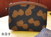 "Yamako ""Aisibu-zome"" Pouch with Japanese 糸巻き(rolled up thread) Pattern 88810 Made in Japan"