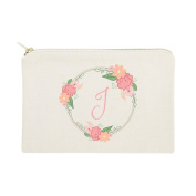 The Cotton & Canvas Co. Personalised Coloured Monogram Floral Cosmetic Bag and Travel Makeup Pouch