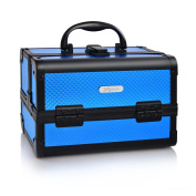 """Portable Makeup Train Case with with Mirror & Trays 9"""" Jewellery Box Organiser Travel Cosmetic Storage - Chic Gift by Joligrace - Blue"""