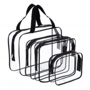 Hotop 4 Pieces Clear Make-up Bags Travel Toiletry Bag Organisers for Travelling, Business Trip and School, Water-proof