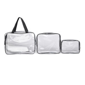Hunputa 3 in 1 Makeup Bags & Cases Plastic Travel Tolietry Bag Clear PVC Tolietry Travel Bag Brushes Organiser for Men and Women Travel Business Bathroom