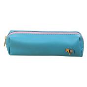 Trenton Horse Leather Pen Pencil Case Cosmetic Pouch Pocket Purse Zipper Makeup Bag