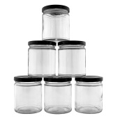 240ml / 270ml Clear Straight Sided Glass Jars w/ Black Metal Lids (6-Pack); Great for Kitchen & Cosmetic Containers
