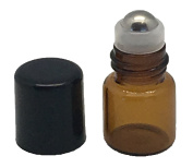 12 1 ml Amber Glass Roller Bottles With Stainless Steel Metal Rollerballs