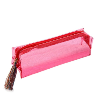 YJYdada Women Colourful Laser Transparent Pencil Case Cosmetic Bag Makeup Pouch (red)
