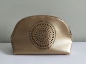Neiman Marcus Laser-cut Gold Faux Leather Cosmetic Case