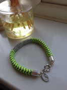 Bnwt Joules Fluoro Yellow Inca Bracelet - Bungee Cord / Silver Trim / Hare Charm