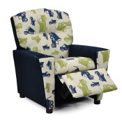 Childs Upholstered Reclining Armchair with Cup Holders - Kids Favourite Recliner Chair for Children - Choose from 2 Fun Truck Fabric Choices - Easy Care
