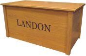 Wood Toy Box, Large Oak Toy Chest, Personalised Georgia Font, Custom Options