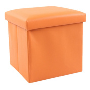 30cm Storage Ottoman Folding Stool,Collapsible Cube Faux Leather Coffee Table,Foot Rest Seat,Clutter Toys Collection Orange