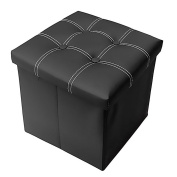 Storage Ottoman Folding Stool,Collapsible 38cm Cube Faux Leather Coffee Table,Foot Rest Seat,Clutter Toys Collection Black
