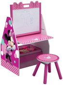 Delta Children Activity Centre with Easel Desk, Stool and Toy Organiser, Disney Minnie Mouse