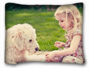 Decorative Standard Pillow Case Animals child dog s playing grass park 50cm *70cm One Side
