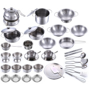 40Pcs Stainless Steel Children Kitchen Toys Miniature Cooking Set Simulation Tableware Toy Pretend Play Cook Toy for Kids Gift