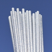 Silver Fairy Dust Plastic Lollipop Cakepop Sticks 150mm x 4.5mm x50 Glitter