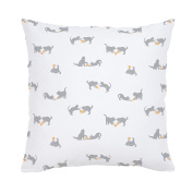 Carousel Designs Grey and Light Orange Cats Throw Pillow 50cm Square Size - Organic 100% Cotton Throw Pillow Cover + Insert - Made in the USA