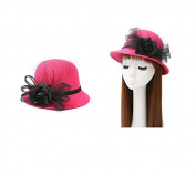 Enking Women Tulle Flower Bowler Hat Bucket Cap _Rosy