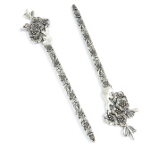 Qty 1 Pieces Silver Tone Jewellery Making Charms Filigrees S2ZS9 Plum Flower Bookmark Hair Sticks