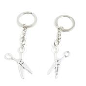 2 x Keychain Keyring Key Ring Chain Jewellery Findings L1XB7 Scissors
