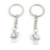 10 x Keychain Keyring Key Ring Chain Jewellery Findings D8DJ5 Globe