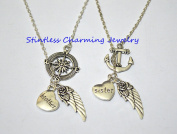 Guardian Angel Sister and Brother Wing I Miss You In Memory Heaven In My Heart Necklace,Anchor, Compass best friend Jewellery