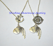 Compass and Anchor necklace ,Guardian Angel Sister Wing I Miss You In Memory Heaven In My Heart Necklace