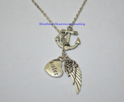 Guardian Angel Sister Wing I Miss You In Memory Heaven In My Heart Necklace,Anchor Angel Wing Necklace, Fairy Necklace