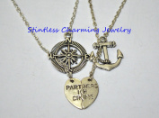 Compass anchor Necklaces, best friend gift set of two necklaces partners in crime necklace silver jewellery best friend necklace split heart necklace set gift for her