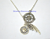 silver angel wing necklace handmade necklace,Compass Necklace Angel Wing necklace And Sun necklace,explore Necklace, travel Charm,Wing Pendant Necklace, angel necklace
