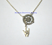 I love you sign language necklace, Silver I Love You sign, Silver ASL I love you charm, Compass necklace, compass necklace ,Best Friend Gifts